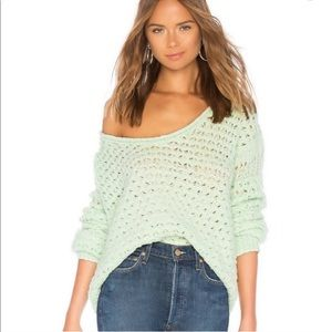 Free people crashing waves pullover knit mint xs